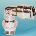 Male swivel elbow for food processing applications