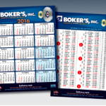 Boker's 2016 scheduling calendar with metric conversion chart