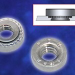 Self-clinching nuts install with minimal footprint in stainless steel sheets