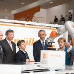 President Barack Obama and German Chancellor Angela Merkel visit Weidmuller's Industry 4.0 Cockpit at Hannover Messe