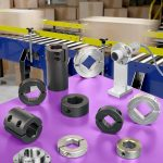 Shaft collars, couplings, and mounts for conveyor systems